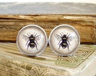 Honey Bee Cufflinks - Bumble Bee Cuff Links In Silver - Sherlock Holmes