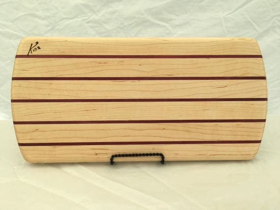 Cheese board made from maple and purple heart woods