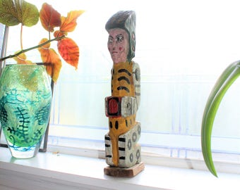 "Vintage Wood Statue Aztec Warrior 1950s Souvenir Figurine 16"""