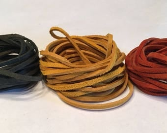 Soft Suede Faux Leather Lace Cord in Olive or Gold (8.16 - 8.41 ft)