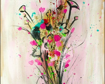 """Flower Painting, Abstract Flower art, Painting with texture and gold leaf, Pink wildflowers, Original flower art on canvas, 24x30"""" by Héroux"""