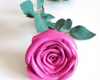 3rd Anniversary Gift Pink  Flower Leather Rose, Wedding gift - Long Stem Flower Valentines Day