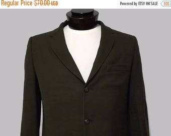 Super Sale 1950s Mens Blazer Suit Jacket Sport Jacket Olive Textured Royal Fabrics Craft Tailored by Howard