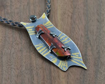 Dance of Time Silver and Gold Keum-Boo Pendant with Ammolite.