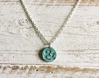 Ceramic Ampersand Pendant, Caribbean Blue, Unique Gift, Gift Ideas, Gift for Her, Ceramics, Ceramic Jewelry, Ampersand Jewelry