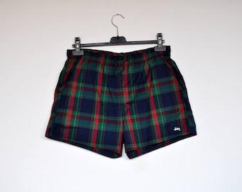 Vintage Men's Swimsuit Plaid Swim Trunks Beach Wear Short Pants