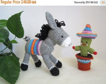 ON SALE - 10% OFF Set of crochet donkey and cactus ...Stuffed toy