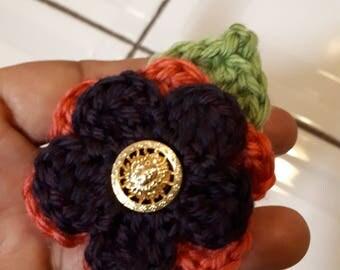 Crochet Flower Brooch. Small Crochet Flower Brooch.