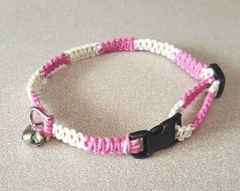 Pink White Hemp Collar, Small Dog, Cat, Kitten, Collar, Boho, Adjustable, Beach
