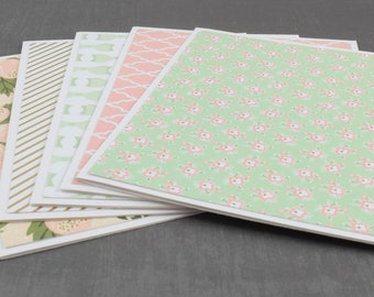Pink and Mint, Pink Cards, Pack of Greeting Cards, Assorted Cards, Set of Cards, Blank Greeting Cards, Stationery Cards, Blank Cards