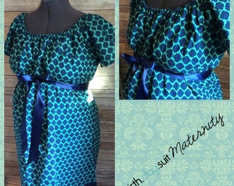Memorial Day Sale! Maternity Hospital Labor Gown- teal and navy geometric print