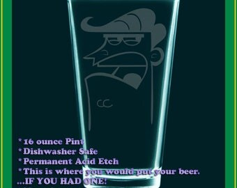 Ultimate DAD glass - Fairly Odd Parents fanart etched pint