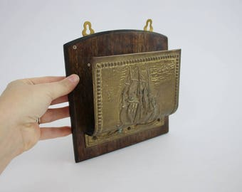 Vintage Brass and Wooden Ship Letter Organizer Wall Hanging - Brass Nautical Office Decor