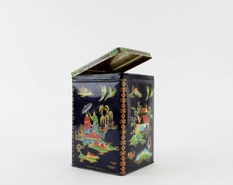 Vintage Daher Asian Tea Tin - Black Red Gold  Pagoda Tin Canister Made in England