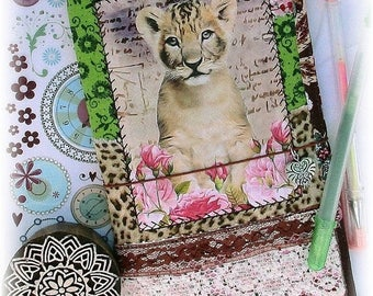 ON SALE OOAK Fauxdori, Lion Cub Fauxdori, Fabric Collage Midori, Traveler's Notebook, Free Insert!