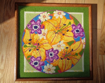 Vintage Needlepoint Sampler Tapestry of A  Floral Still Life Display, Signed and Dated by The Artist Suzanne on 10-16-82  in Very Good Shape