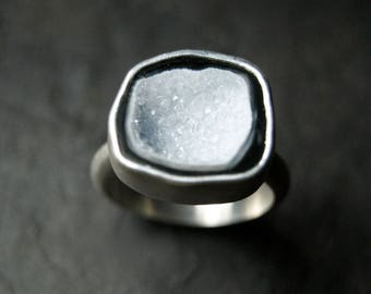 Arctic White Geode Ring in Sterling Silver