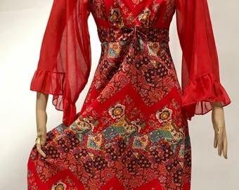 Prairie Dress Red Print Festival Maxi Peasant Frock VLV Modesty Long Ruffled Skirt Vintage 1970 70s Renaissance Ren Faire