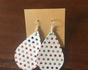 USA Stars leather earrings