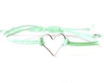 Sterling Silver Heart Bracelet, Mint Bracelet, Adjustable Cord Bracelet, Mint Jewelry UK