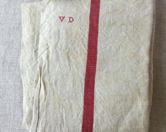 French Vintage large Dish towel, in genuine linen Red stripes kitchen towel with initials VD