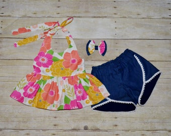 Ready to Ship Girls Outfit, Halter Top Denim Shorts, Peplum Top, Summer, Boho, Yellow and PInk Floral , Toddler Girls, Denim Petal Shorts