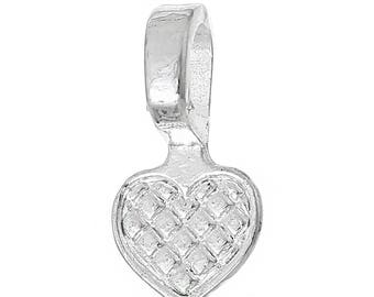 100 Heart Bails - Silver Plated - WHOLESALE - Glue On - 16x8mm  - Ships IMMEDIATELY from California - B1248b