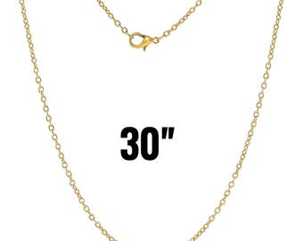 "300 Gold Necklaces - WHOLESALE - 3x2mm - Cable Chain - 30"" - Ships IMMEDIATELY from California - CH540e"