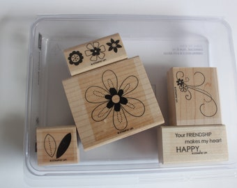 Stampin Up, Friendship Blooms Set, Rubber Stamps, Stamp set, flower stamps, card making supply, scrapbook supply, wood mounted stamps