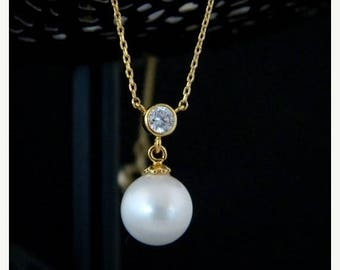 SALE Pearl Cubic Zirconia Gold Necklace