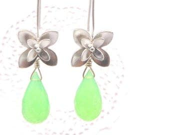 Green Chalcedony Faceted Teardrop Silver Cherry Blossom Earrings