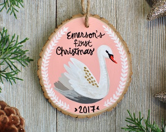 Fairytale Gift, Swan Ornament, First Christmas Ornament Personalized, for baby girl, Custom Ornaments for kids, Christmas Gift for Niece