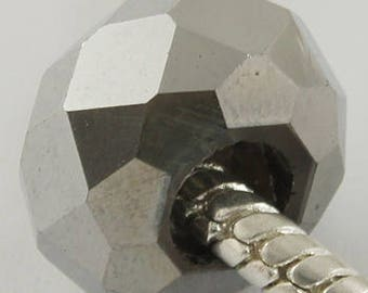 Silver Electroplated Glass European Beads - 14mm in diameter, 8mm thick