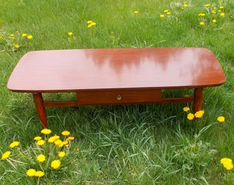 DANISH MODERN COFFEE Table Clean Lines High Gloss Finish Brass Accents  1960s