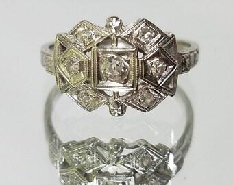 Antique Art Deco 14k Old Mine Cut Diamond Ring