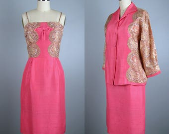 Vintage Early 1960's Silk Dress Set by Oleg Cassini 50s 60s Sexy Marilyn Style Designer Cocktail Dress Size S