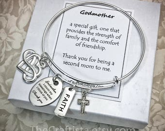 GMB4, Godmother Bangle, Godmother Gifts, Aunt Bangle, Godmother Jewelry, Gifts for Godmother, Godmother Adjustable Bangle, Expandable Bangle