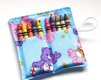 CUSTOM 9 Birthday Party Crayon Roll Party Favors, made from assorted fabrics, crayon rollups sleeves party supplies