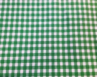 SALE, Green Checkered Fabric, Green Fabric, Green Gingham Fabric, Green and White Fabric, 05063