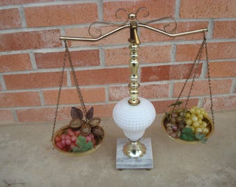 Vintage Scales of Justice Hobnail Marble Base Brass Colored Metal