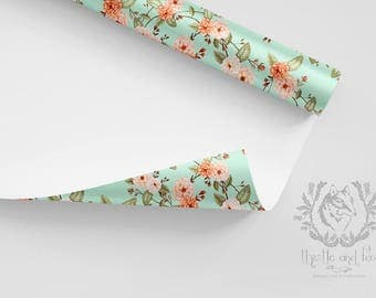 Wrapping Paper Roll Roses Boho Floral Peach Mint Green/ Quality Satin Eco Friendly Printed Paper/ Made to Order/ Ships from USA Free