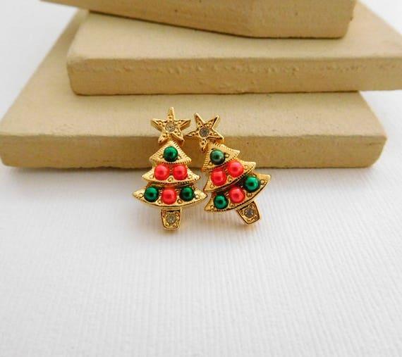 Retro Avon Pink Green 'Colorful Christmas Tree' Rhinestone Stud Earrings SS41