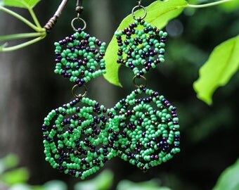 Green Long Earrings, Beaded Jewelry, Beadwoven Jewellery, Seed bead Lace Earrings