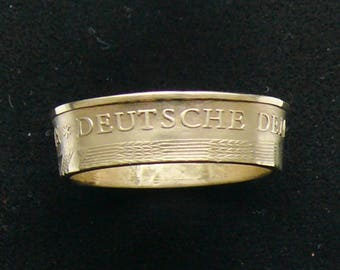1969 East Germany 20 Pfennig Brass Coin Ring, Ring Size 7 1/2 and Double Sided