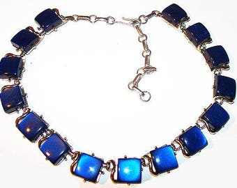 """Coro Blue Moonstone Necklace Signed Silver Metal Thermoset 17"""" Vintage"""