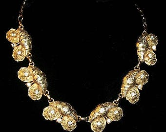"Gold Leaf Choker Necklace Clear Rhinestones Paper Clip Chain 18"" Vintage"
