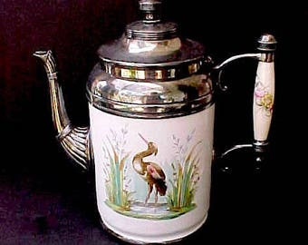 Beautiful Victorian Era Coffee Pot-Manning Bowman Great Heron Bird Design