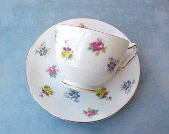 Lovely Hand Painted English Bone China Teacup and Saucer with Hand Painted Pansies, Roses