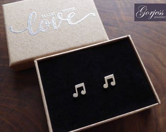 Silver Music Note Earrings - Beamed Note Studs - Handmade Music Note Studs - Satin