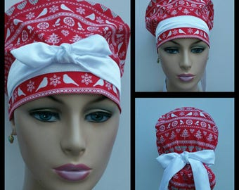 Handmade Woman Medical Scrub Hat - Nordic Holiday - Snowflake Pixel Stripe - Red/White - 100 % cotton